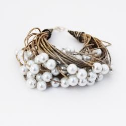 Bracelet en lin et perles blanches Garance