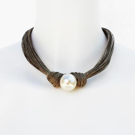 Collier de lin et perles Violette