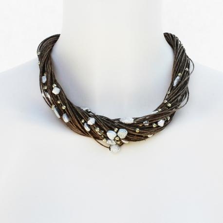 Collier de lin sertit de perles Stella