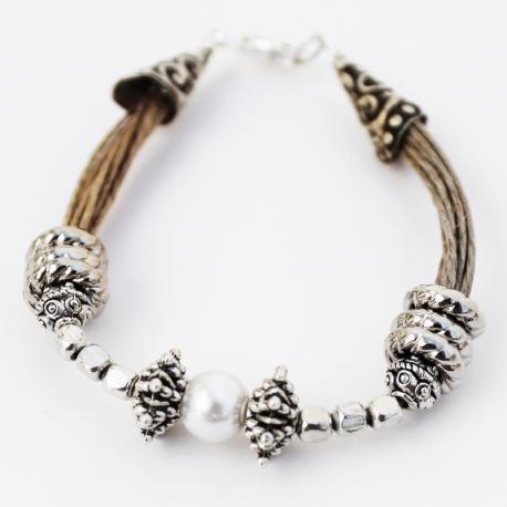 Bracelet en fil de lin oriental Solène