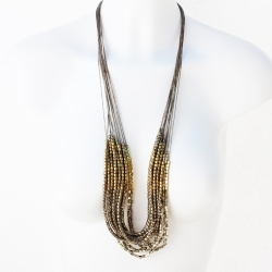 Necklace Linen - Linen golden necklace Multi Row - flax necklace