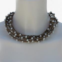linen collar Eglantine - Linen Handmade jewelry