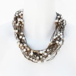 Bijou en lin Enola - collier en fin fabrication artisanale