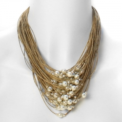 Collier lin multi rangs et perles Mathilde