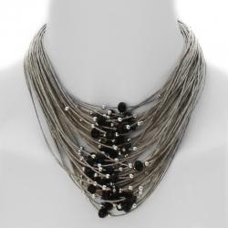Un collier multi-rangs en lin naturel -perles grises et noires ébènes Dafne