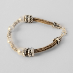Bracelet en lin naturel chic Quitterie