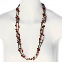 Collier chic - sautoir en lin perles rouges Adele