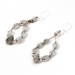Boucles d'oreilles orientales en lin et perles Zelie