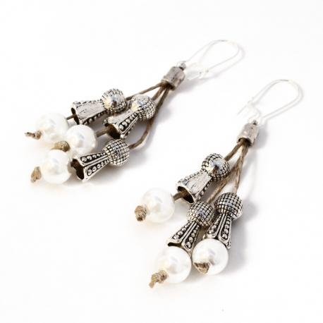 Boucles d'oreilles oritentale en lin Clarisse