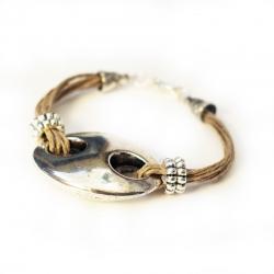 Bracelet ethnique - bijoux ethnique- Bijoux naturel en lin Corfu