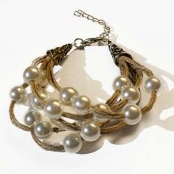 Bracelet boho chic bijoux en lin et création de bijoux artisanaux