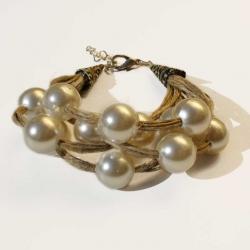 Bracelet artisanal bracelet bohème et contemporain bijoux en lin