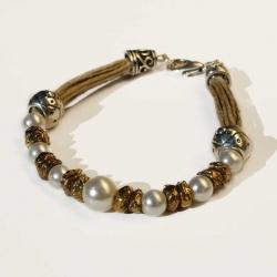 Bracelet hippie chic et bijoux naturels en lin