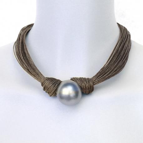 collier perle et lin