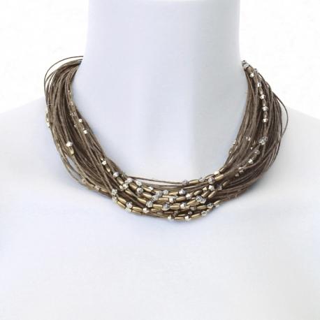 Bijou lin Dora - collier en lin multirang et perles