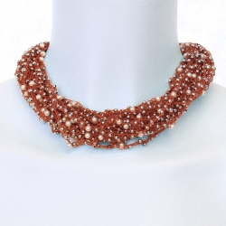 collier crochet Rubis - fabrication artisanale
